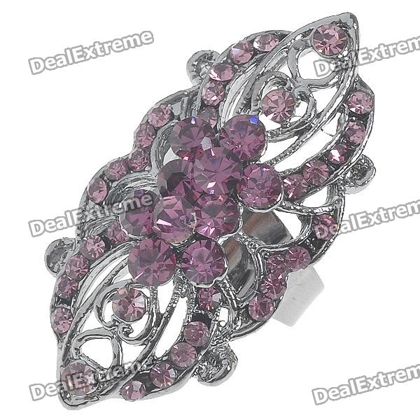 Victoria Vintage Crystal Long Ring (Amethyst)