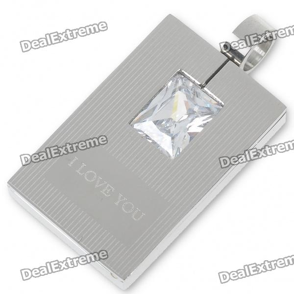Men's Stainless Steel Tag Pendant with Crystal (Silver) men s stainless steel tag pendant with crystal silver