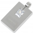 Men's Stainless Steel Tag Pendant with Austrian Crystal (Silver)