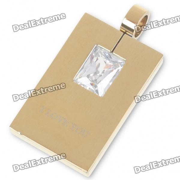 Men's Stainless Steel Tag Pendant with Crystal (Gold) men s stainless steel tag pendant with crystal silver