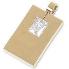 Men's Stainless Steel Designer's Tag Pendant with Austrian Crystal (Gold)