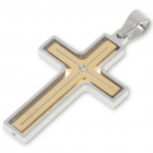 Silver and Golden Revolvable Stainless Steel Cross Pendant with Crystal