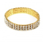 Bridal Wedding Austrian Crystal 18KP 3-Row Stretch Bracelet (Golden)