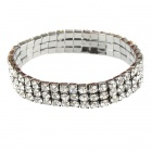 Bridal Wedding Austrian Crystal 18KP 3-Row Stretch Bracelet (Silver)