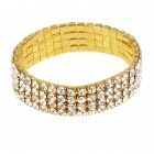 Bridal Wedding Austrian Crystal 18KP 4-Row Stretch Bracelet (Golden)