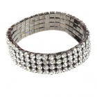 Bridal Wedding Austrian Crystal 18KP 4-Row Stretch Bracelet (Silver)