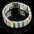 Bridal Wedding Austrian Crystal 18KP 4-Row Stretch Bracelet (Multicolor)