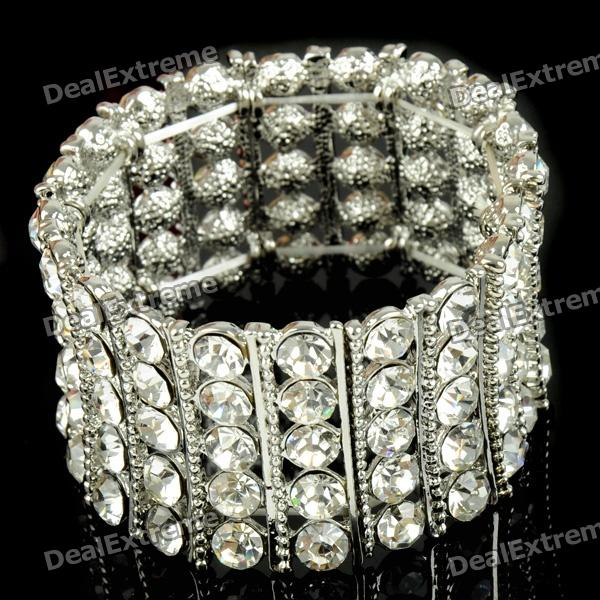 Oversize Bridal Wedding Crystal 18KP Stretch Bracelet mymei silver personality gem crystal wedding bridal princess jewelry crown hair jewelry accessories clip hair pins