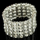Oversize Bridal Wedding Austrian Crystal 18KP Stretch Bracelet