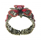 Vintage Crystal Wonderland Flower Cuff Bracelet (Ruby Red)