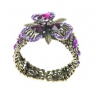 Vintage Crystal Wonderland Flower Cuff Bracelet (Purple)