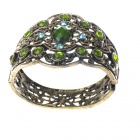 Victorian Crystal Wonderland Cuff Bangle Bracelet (Peridot)