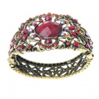 Victorian Austrian Crystal Wonderland Cuff Bangle Bracelet (Ruby Red)