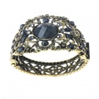 Victorian Crystal Wonderland Cuff Bangle Bracelet (Black)