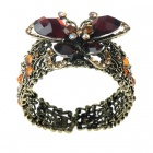 Vintage Crystal Flying Butterfly Cuff Bracelet (Amber)
