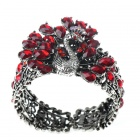 Vintage Austrian Crystal Peacock Cuff Bracelet (Ruby Red)