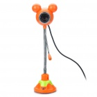 Flexible Neck 300K Pixel CMOS PC USB 2.0 Webcam w/ Microphone - Orange