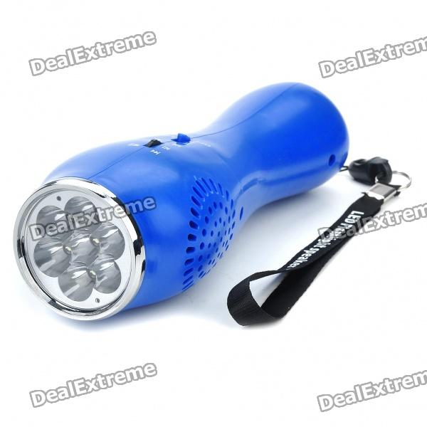7-LED 2-Mode White Flashlight + USB Rechargeable MP3 Music Speaker with USB/TF - Blue