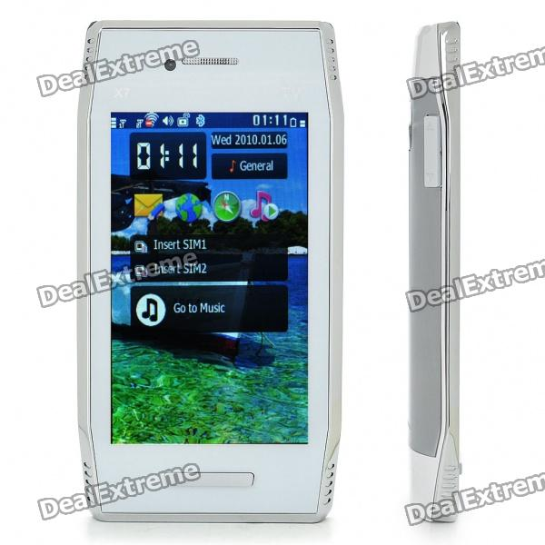 "X7 3,8 ""Touch Screen Dual SIM Dual Network Standby Quadband GSM TV Cell Phone w / WiFi + Java - White"