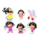 Cute Dora Style Keychain (6-Pack/Assorted)