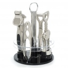 4-in-1 Zinc Alloy Corkscrew Opener + Garlic Press + Peeler + Nut Cracker Holder Set