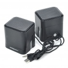 Unique 180 Degree Rotatable USB Powered Music Speakers - Black