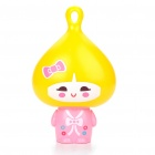 Cute Handheld Cooling Fan with UV Sensor Card - Yellow + Pink (2 x AAA)