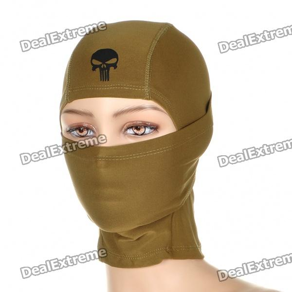 Cool Breathable Headgear Mask with Skull Head Pattern - Khaki