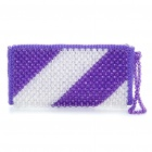 Charming Glossy Crystal Beads Ladies Handbags - Purple