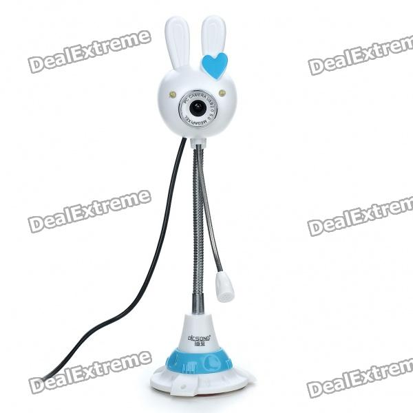 Cute Rabbit Style USB 2.0 300K Pixel Driverless Webcam w/ Microphone and 2-LED White Light
