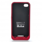 1500mAh Rechargeable External Battery Back Case for iPhone 4 - Red