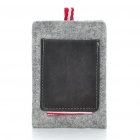 Stylish Woolen Pouch Bag with Strap for Iphone 4 - Gray