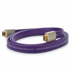 Designer's Gold Plated 1080P HDMI V1.3 M-M Flat Connection Cable - Purple (1.7M-Length)