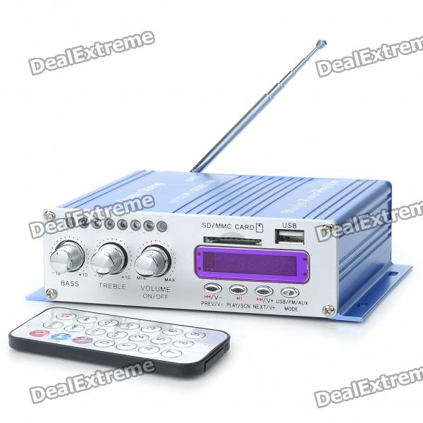 160W Hi-Fi Stereo Amplifier MP3 Player for Car/Motorcycle - Blue + Silver (SD/USB)
