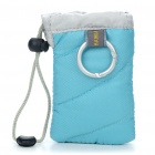 Digital Camera Bag with Strap & Carabiner Clip - Blue