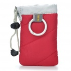 Digital Camera Bag with Strap & Carabiner Clip - Red