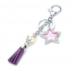 Stylish Star Style Photo Frame Pearl Leather Tassels Keychain