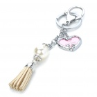 Stylish Heart Style Photo Frame Pearl Leather Tassels Keychain