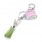 Stylish Smile Photo Frame Pearl Leather Tassels Keychain