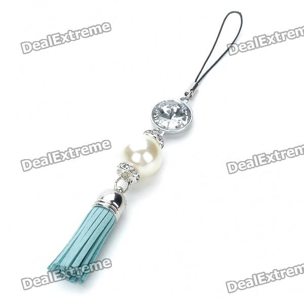 Stylish Pearl Leather Tassels Cell Phone Strap - Green