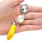 Stylish Pearl Leather Tassels Cell Phone Strap - Yellow