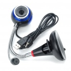 Flexible Neck USB 2.0 300K Pixel CMOS Driverless Webcam w/ Microphone - Black + Blue