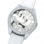 Cute Mickey Pattern PU Leather Band Quartz Wrist Watch - White (1 x 377)
