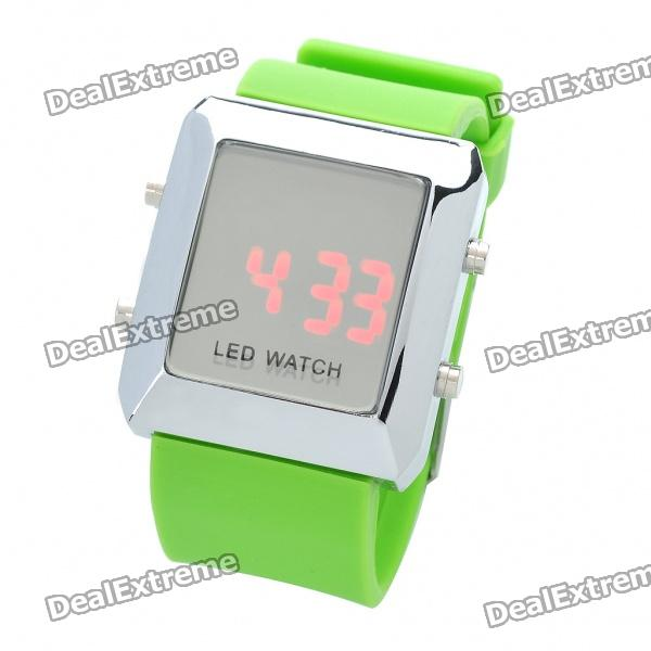 Fashion Sports Water Resistant Red LED Display Digital Wrist Watch - Green (1 x CR2032) fashion stainless steel red yellow led water resistant wrist watch black 2 x cr2016