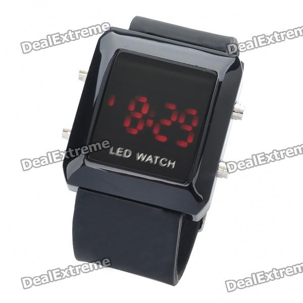 Fashion Sports Water Resistant Red LED Display Digital Wrist Watch - Black (1 x CR2032) fashion stainless steel red yellow led water resistant wrist watch black 2 x cr2016