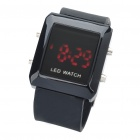 Fashion Sports Water Resistant Red LED Display Digital Wrist Watch - Black (1 x CR2032)