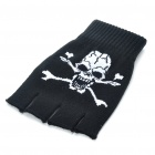 Cool Skull Pattern Half-Finger Gloves - Black + White (Pair)