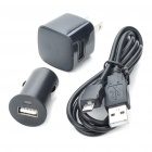 AC/Car Power Adapters + USB Charging/Data Cable for Blackberry 9700/9800/9500/8520