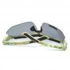 UV400 Protection PC Lens Resin Frame Sunglasses/Goggles Set - Camouflage Green Frame