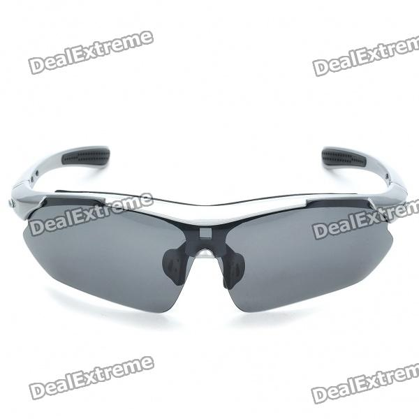 UV400 Protection PC Lens Resin Frame Sunglasses/Goggles Set - Silver Frame fashion uv400 uv protection resin lens sunglasses with pouch
